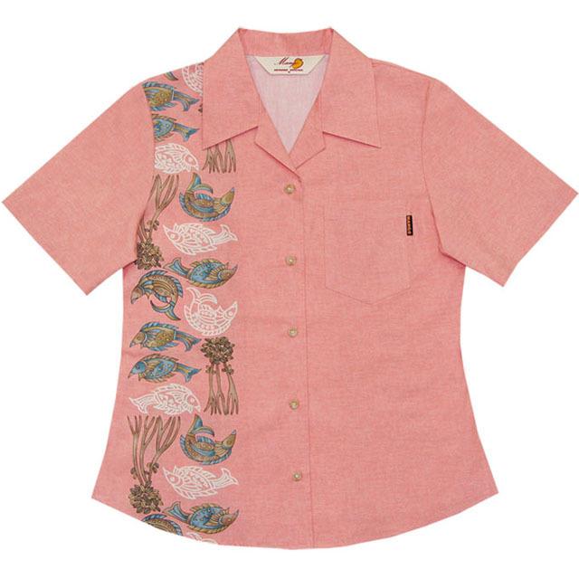 Lady'魚紋縦ボーダー オープンシャツ ピンク