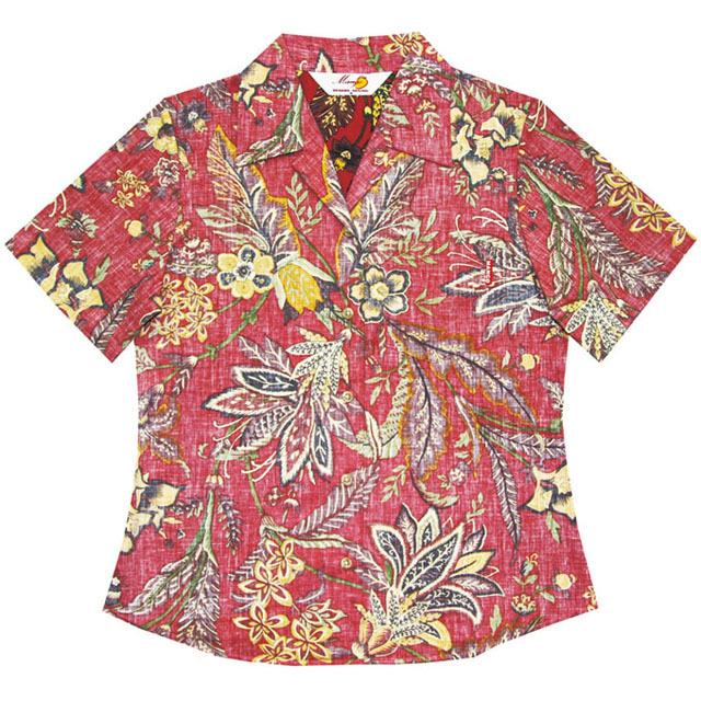 Lady'sエスニックデイゴ柄 オープンシャツ 裏地仕様 レッド