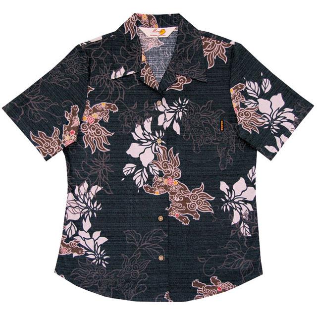 Lady's花シーサー総柄 オープンシャツ