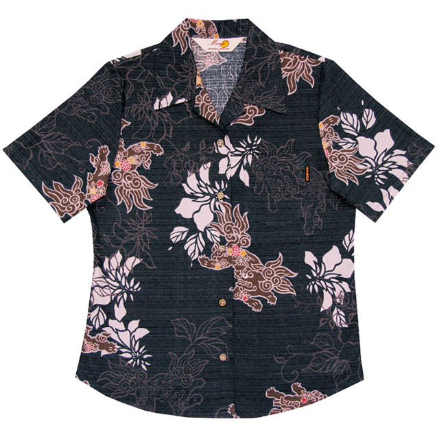 Lady's花シーサー総柄 オープンシャツ ブラック