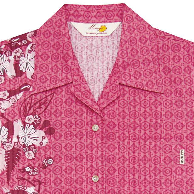 Lady's紅型イジュヤンバルクイナ オープンシャツ ピンク(