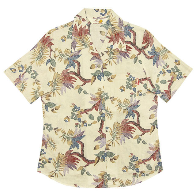 Lady's紅型古典デイゴ オープンシャツ アイボリー