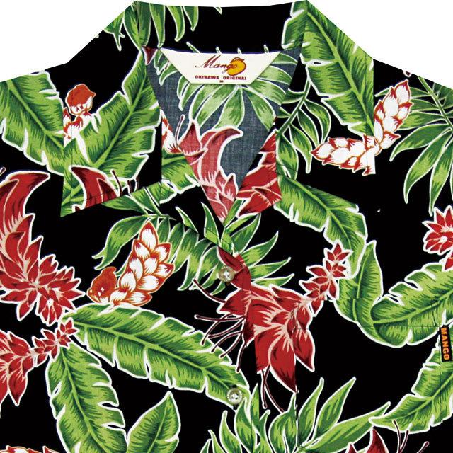Lady'sデイゴ月桃 オープンシャツ ブラック