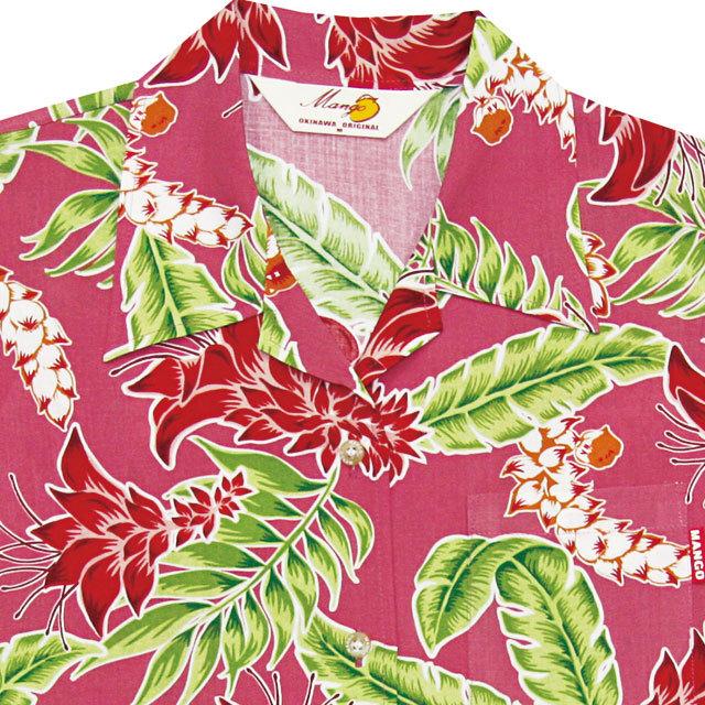 Lady'sデイゴ月桃 オープンシャツ ピンク