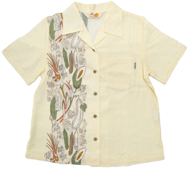 Lady's野菜縦ボーダー オープンシャツ(MANGO PLUS マンゴ プラス レディースかりゆしウェア・アロハシャツ)