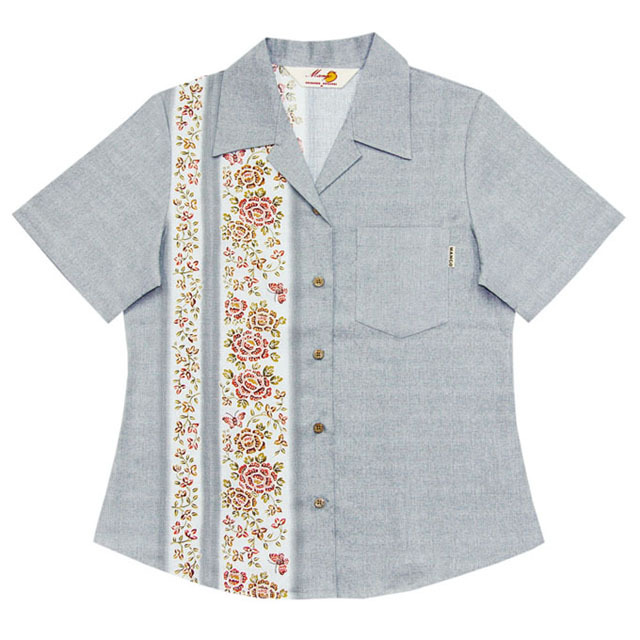 Lady's紅型蝶々縦ボーダー オープンシャツ