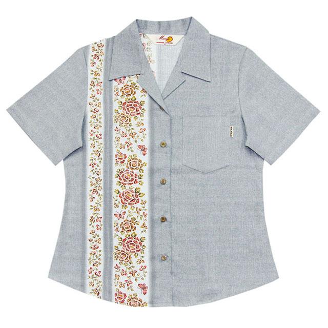 Lady's紅型蝶々縦ボーダー オープンシャツ グレー