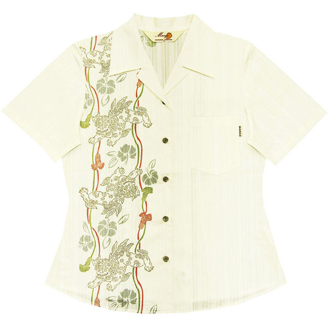 Lady'sシーサー縦ボーダー オープンシャツ アイボリー