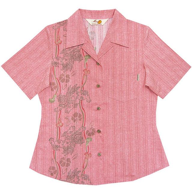 Lady'sシーサー縦ボーダー オープンシャツ