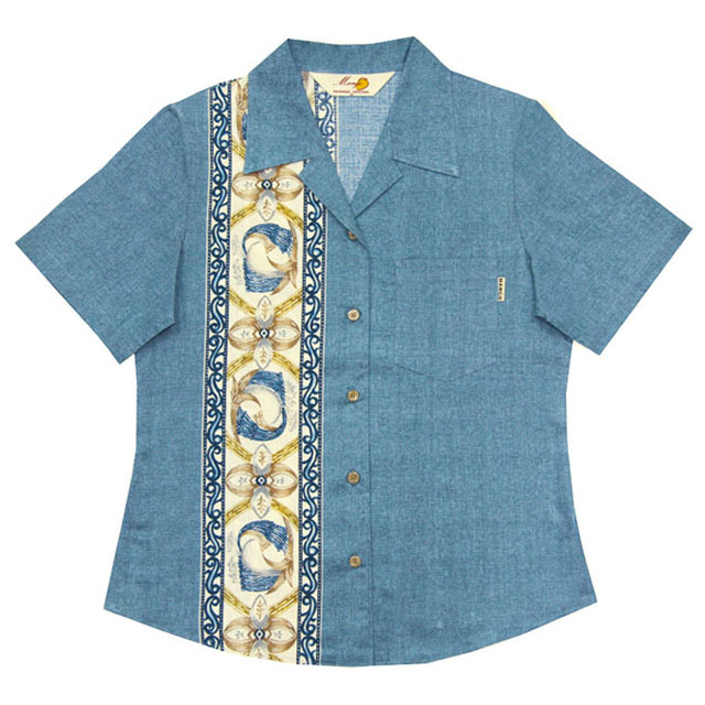Lady'sデイゴ縦ボーダー オープンシャツ ブルー