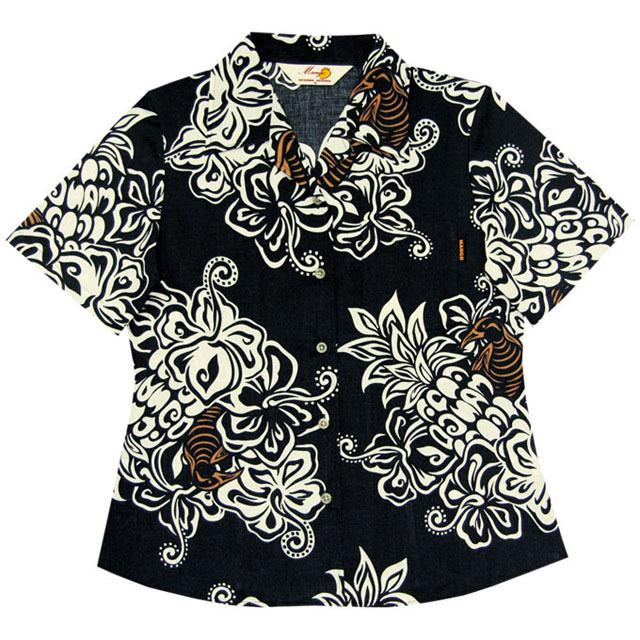 Lady's大柄クイナ オープンシャツ ブラック