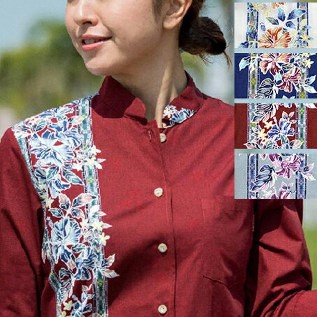 Lady'sハイビーボーダークラシック マオカラー七分袖 (MANGO PLUS マンゴ プラス レディースかりゆしウェア・アロハシャツ)