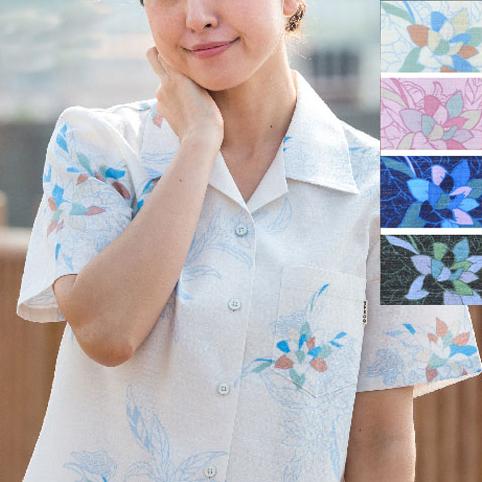 Lady'sシーサーハイド オープンシャツ (MANGO PLUS マンゴ プラス レディースかりゆしウェア・アロハシャツ)