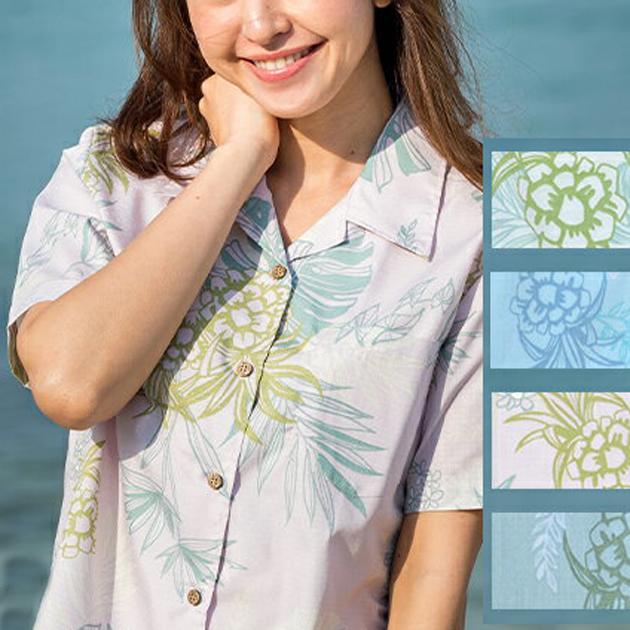 Lady'sモンステラアダン オープンシャツ (MANGO PLUS マンゴ プラス レディースかりゆしウェア・アロハシャツ)