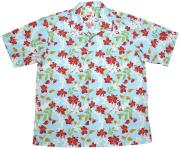 Men'sアイランドフラワー オープンシャツ ブルー (MANGOマンゴ メンズかりゆしウェア・アロハシャツ)