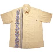 Men's古典デイゴボーダー ボタンダウン ベージュ(MANGOマンゴ メンズかりゆしウェア・アロハシャツ)