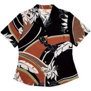 Lady'sデイゴ芭蕉大柄 オープンシャツ ブラック