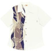 Lady'sアダンボーダー オープンシャツ オフブルー