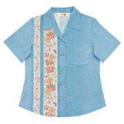 Lady's紅型蝶々縦ボーダー オープンシャツ ブルー