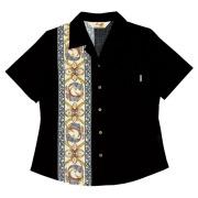 Lady'sデイゴ縦ボーダー オープンシャツ ブラック