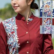 Lady'sハイビーボーダークラシック マオカラー七分袖 (MANGOマンゴ レディースかりゆしウェア・アロハシャツ)