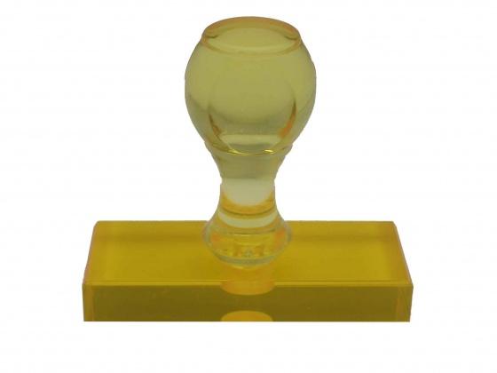 ゴム印 トップスター台(プラスチック台) サイズ:タテ20mm×ヨコ60mm 黒ゴム イエロー(橙)色