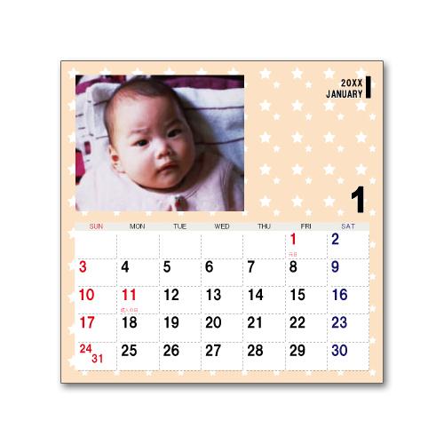 卓上カレンダー CDサイズ (写真入り、名前無し) ポップ