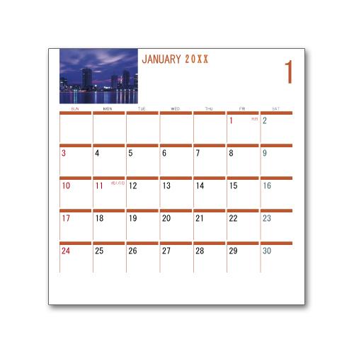 卓上カレンダー CDサイズ (写真入り、名前無し) シンプル