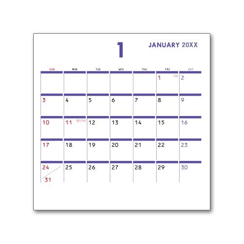 卓上カレンダー CDサイズ (写真無し、名前無し) ビジネス7