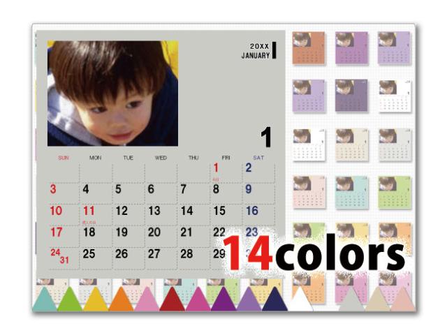 選べる14色卓上カレンダー CDサイズ (写真入り、名前無し) ポップ2
