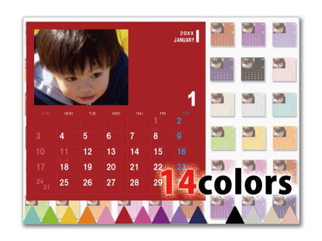 選べる14色卓上カレンダー CDサイズ (写真入り、名前無し) ポップ3