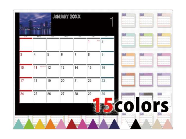 選べる15色卓上カレンダー CDサイズ (写真入り、名前無し) シンプル3