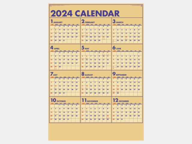 年表 クラフトプラン NK345カレンダー印刷 2019年度