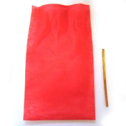 赤色の袋とゴールドタイのラッピングセット