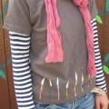 【NEO*SHIHO】手刺繍のTシャツ/ろうそく:チャコールグレー
