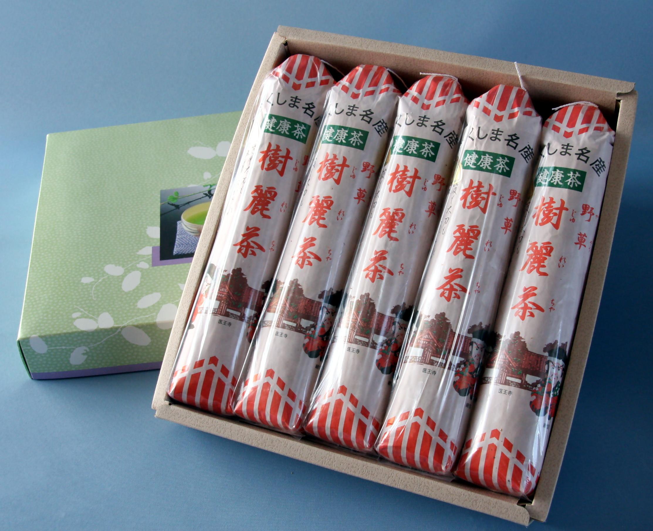 """寿楽園のお茶【健康茶""""樹麗茶""""ギフトAセット】(150g入り5本)箱入り。"""