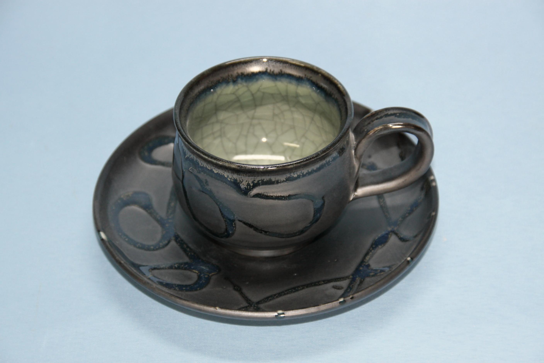 【半谷窯】黒袖コーヒーセット