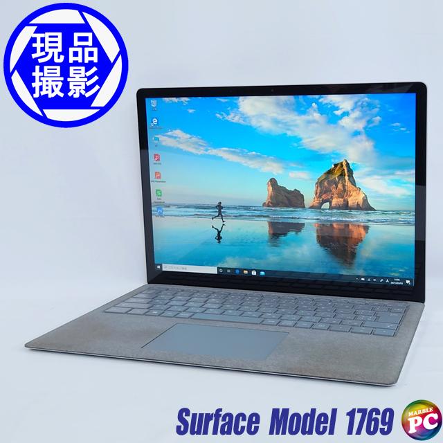 Microsoft Surface Laptop Model 1769(現品撮影) メモリ16GB SSD512GB Windows10-Pro コアi7-7660U(2.50GHz)搭載 グラフィックス WEBカメラ Bluetooth 無線LAN WPS Office付き 高解像度液晶13.5型 中古ノートパソコン 訳あり◇
