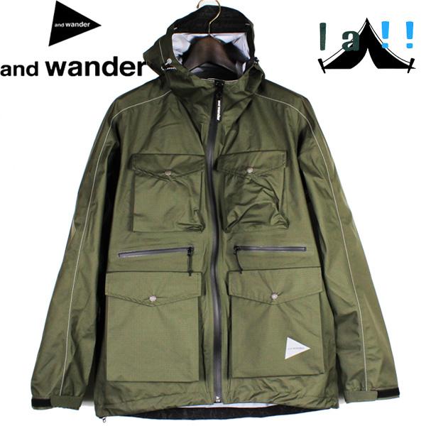 【 andWander 】 アンドワンダー 3L rip stop jacket 3レイヤーリップストップジャケット