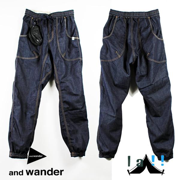 【 andWander 】 アンドワンダー Dry Denim Easy Pants ドライデニム・イージーパンツ