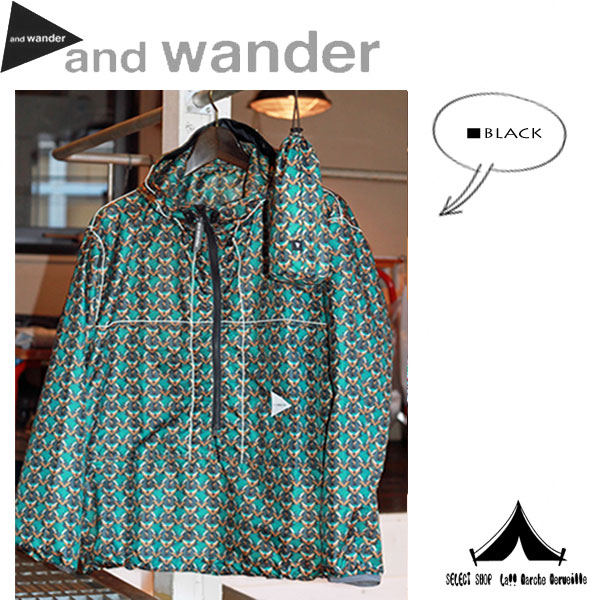 【andwander】 アンドワンダー printed wind pullover プリンテッド・ウィンド・プルオーバー(キノコ) AW61-FT024