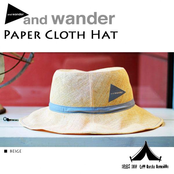 【 andwander 】 アンドワンダー Paper Cloth Hat ペーパークロスハット AW-AA753