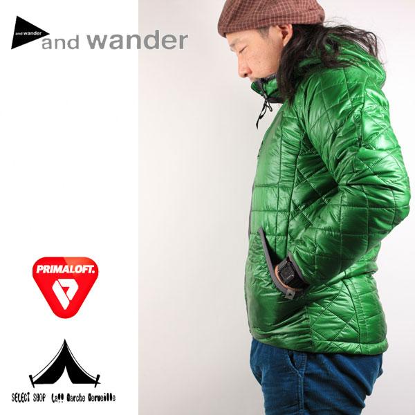【 andwander 】 アンドワンダー Primaloft Insulated Hoodie プリマロフト・フーディー