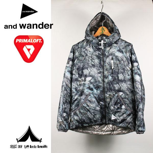 【andwander】 アンドワンダー rock printed insulation hoodie ロックプリント・インシュレーション・フーディー