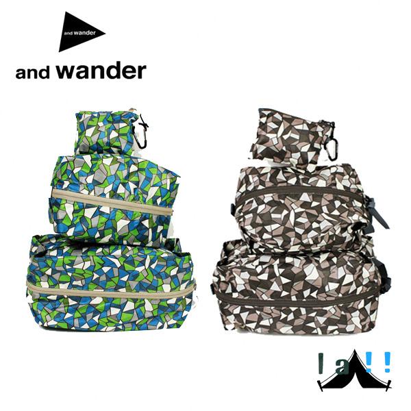 【 andWander 】 アンドワンダー geometric printed stuff sack set ジオメトリックプリンテッド・スタッフサックセット