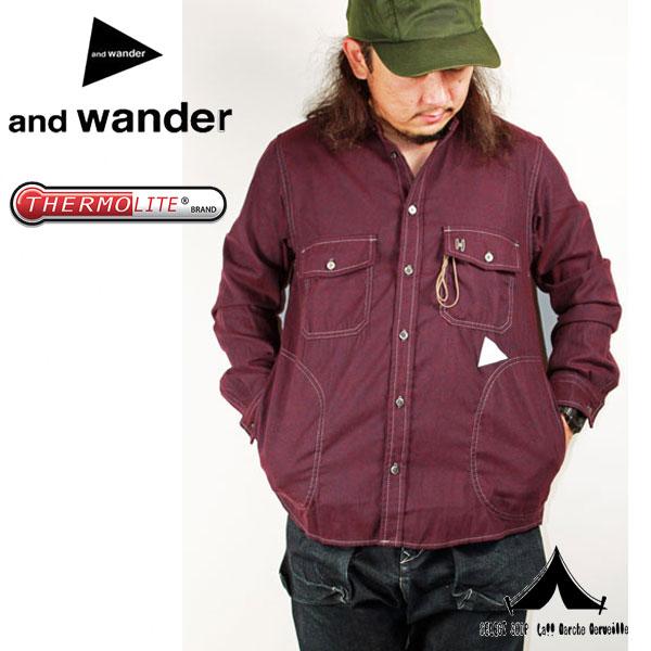 【 andwander 】 アンドワンダー thermo nell stand collar shirt サーモネル・スタンドカラーシャツ