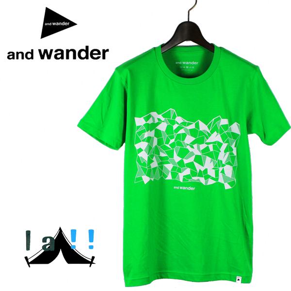 【 and wander 】 アンドワンダー  geometric printed T ジオメトリックプリントT