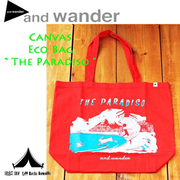"""【 andwander 】 アンドワンダー Canvas Eco Bag """"Paradiso"""" キャンバスエコバッグ""""パラディーゾ"""""""