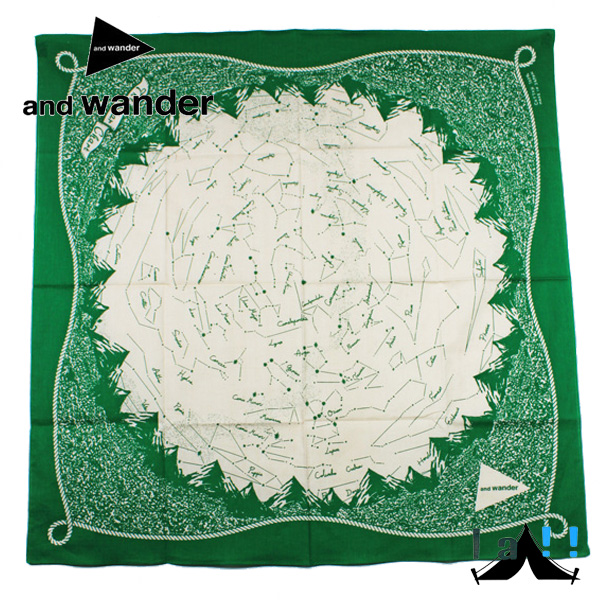 【 andWander 】 アンドワンダー star chart printed big bandanna スターチャートプリンテッドバンダナ