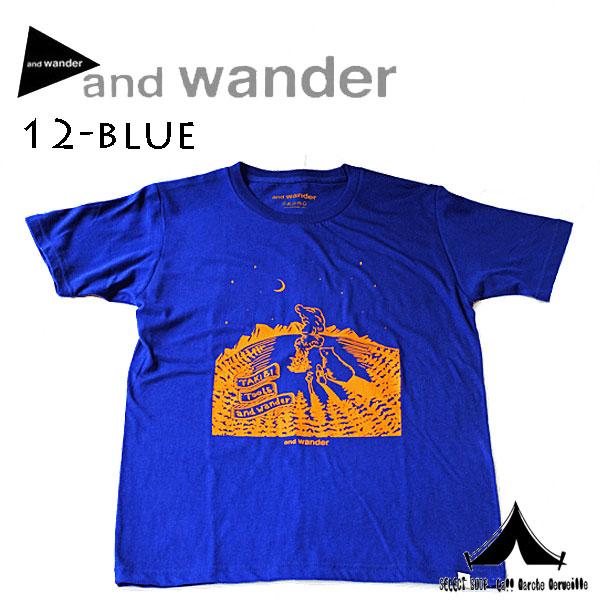 【 andwander 】 アンドワンダー TAKIBI printed T (M) タキビプリントTシャツ